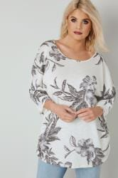 Ivory & Grey Floral Print Top With Ruched Sides