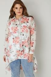Ivory & Pink Floral Dipped Hem Shirt