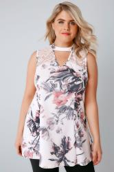 Ivory & Pink Floral Peplum Choker Top With Lace Panel