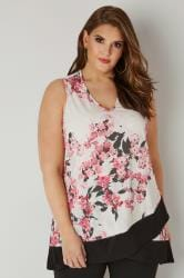 Ivory & Pink Floral Top With Cross Over Hem