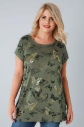 Khaki Butterfly Print T-Shirt With Gold Foil Detail