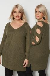 Khaki Chunky Knit Longline Jumper With Cut Out Sleeves