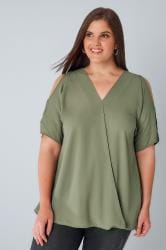 Khaki Cold Shoulder Wrap Front Blouse