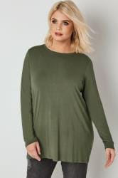 Khaki Long Sleeve Soft Touch Jersey Top