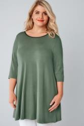 Khaki Longline Jersey Swing Top With PU Trim & Half Sleeves