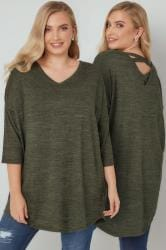 Khaki Longline Knitted Top With Cross Over Straps
