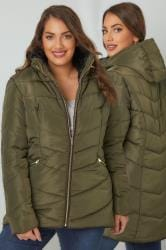 Khaki Short Quilted Puffer Jacket With Foldaway Hood