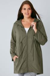 Khaki Shower Resistant Pocket Parka Jacket With Hood