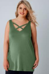Khaki V-Neck Vest Top With Cross Over Strap Detail