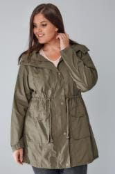 Khaki Washed Lightweight Parka With Hood