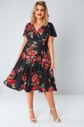 LADY VOLUPTUOUS Black & Red Floral Rose Print Lyra Dress