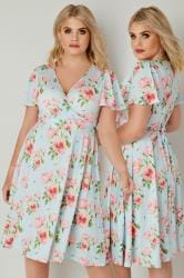 LADY VOLUPTUOUS Light Blue & Pink Lyra Floral Print Dress