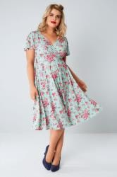 LADY VOLUPTUOUS Mint & Pink Ditsy Floral Lyra Dress