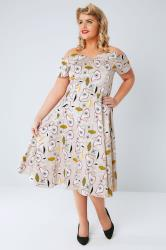 LADY VOLUPTUOUS Multi Bardeaux Vintage Print Dress