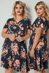 LADY VOLUPTUOUS Navy & Orange Lyra Floral Print Dress