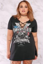 "LIMITED COLLECTION Black ""American"" Slogan Cross Front Top With Side Splits"