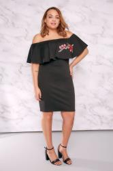 LIMITED COLLECTION Black Bardot Dress With Embroidered Frill Panel
