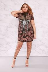 LIMITED COLLECTION Black & Brown Acid Wash Lace Up Longline Top
