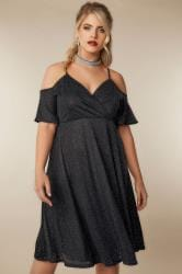 LIMITED COLLECTION Black Cold Shoulder Wrap Dress With Holographic Glitter