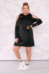 LIMITED COLLECTION Black Distressed Hooded Sweat Dress