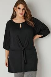 LIMITED COLLECTION Black Longline Top With Knot Front