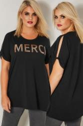 "LIMITED COLLECTION Schwarzes schulterfreies Oberteil mit ""Merci"" Slogan"