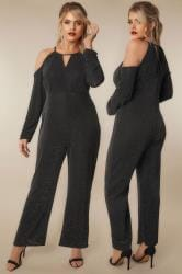 LIMITED COLLECTION Black & Multi Glitter Jumpsuit With Cold Shoulders