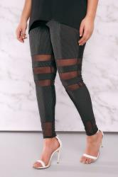 LIMITED COLLECTION Black Plisse Leggings With Mesh Inserts