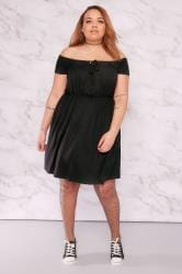 LIMITED COLLECTION Black Ribbed Bardot Dress With Tie Front