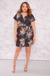 LIMITED COLLECTION Black Tiger & Floral Print Wrap Dress