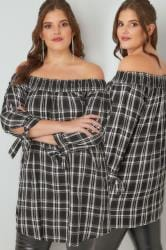 LIMITED COLLECTION Black & White Check Bardot Top