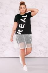 LIMITED COLLECTION Black & White 'Real' Top With Fishnet Mesh Hem