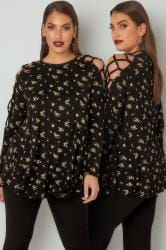 LIMITED COLLECTION Black & Yellow Floral Print Top With Lace Tie Sleeves