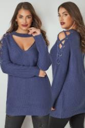 LIMITED COLLECTION Blue Choker Jumper With Lace Sleeves