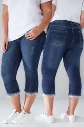 LIMITED COLLECTION Blue Distressed Denim Cropped Jeans With Lacy Hem