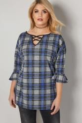 LIMITED COLLECTION Blue & Grey Checked Swing Top With Lattice Neckline