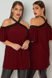 LIMITED COLLECTION Burgundy Lace Trim Halter Neck Top