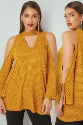 LIMITED COLLECTION Dark Yellow Polka Dot Open Arm Top With Choker Neck