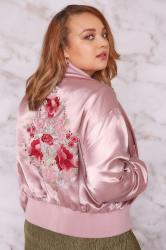 LIMITED COLLECTION Dusty Pink Silky Embroidered Bomber Jacket