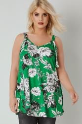 LIMITED COLLECTION Green Floral Jersey Vest Top With D Ring Fastenings