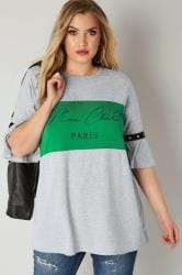LIMITED COLLECTION Green & Grey 'Paris' Top With Flute Sleeves