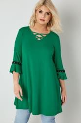 LIMITED COLLECTION Green Swing Top With Lattice Neckline & Flute Sleeves