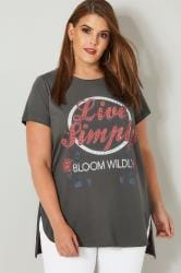 LIMITED COLLECTION Grey Embellished 'Live Simply' Top