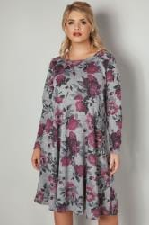 LIMITED COLLECTION Grey & Multi Floral Print Skater Dress