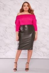 LIMITED COLLECTION Hot Pink Ruched Bardot Top
