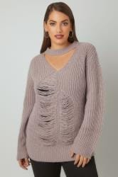 LIMITED COLLECTION Dove Grey Chunky Knitted Distressed Jumper With Choker Neck