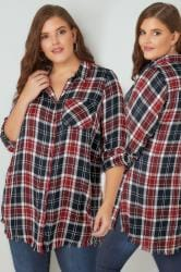 LIMITED COLLECTION Navy & Red Checked Shirt With Frayed Hem & Roll Up Sleeves
