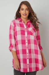 LIMITED COLLECTION Pink Checked Shirt With Chest Pocket & Roll Up Sleeves