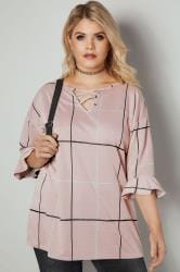 LIMITED COLLECTION Pink Checked Swing Top With Lattice Neckline