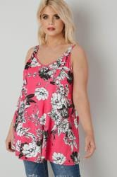 LIMITED COLLECTION Pink Floral Jersey Vest Top With D Ring Fastenings